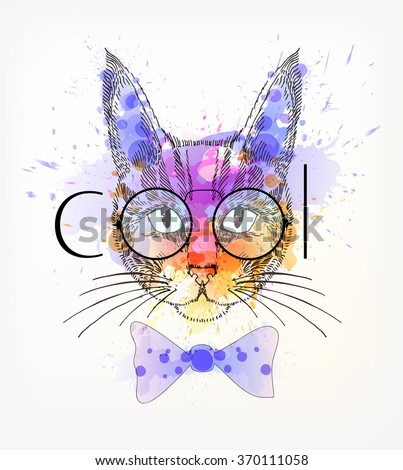 Hand Drawn portrait of hipster cat with watercolor blots. Cool - stock vector