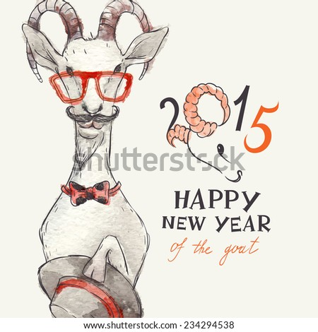 Hand Drawn Portrait of Hipster Goat. New Year Symbol of 2015, Eps 10 Vector Illustration - stock vector