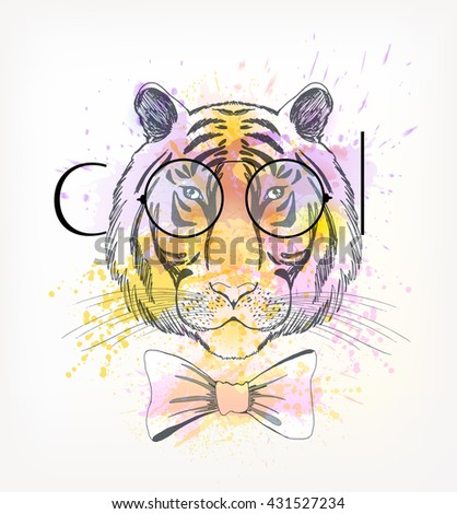 Hand Drawn portrait of hipster tiger with watercolor blots. Cool - stock vector