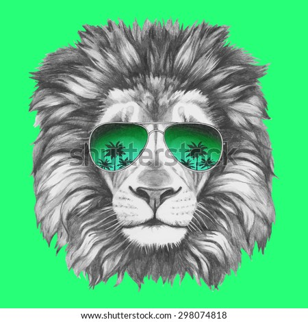 Hand drawn portrait of Lion with sunglasses. Vector isolated elements. - stock vector