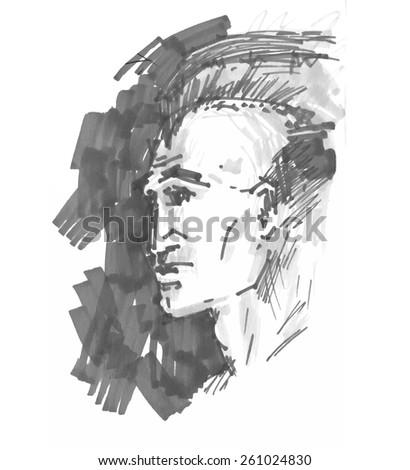 Hand drawn portrait of man - stock vector