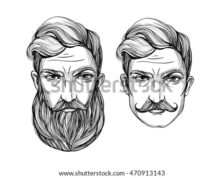 Hand Drawn Portrait Men Beard Mustache Stock Vector 470913143 ...