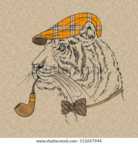 Hand Drawn Portrait of Tiger with Tobacco Tube - stock vector