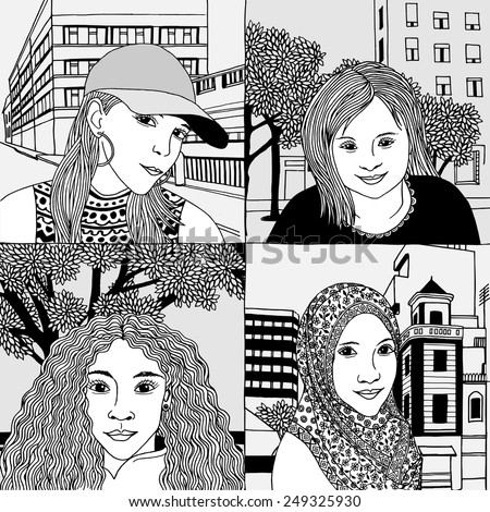 Hand drawn portraits of women from various cultural backgrounds - No. 1 - stock vector