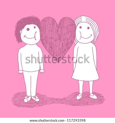 Hand drawn postcard, symbolic love - stock vector