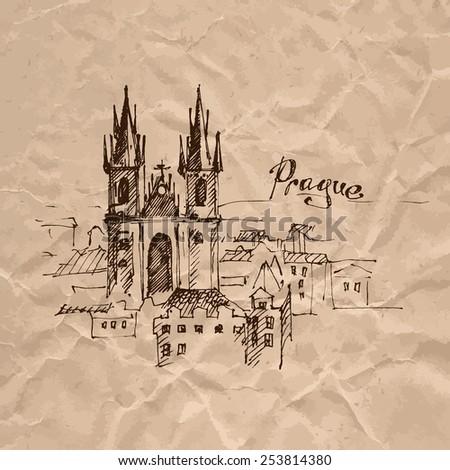 Hand drawn Prague. Sketch on crumpled kraft paper background. Vector illustration. - stock vector