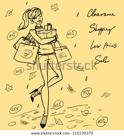Hand drawn pretty girl walking with shopping bags and present boxes, Shopping doodles - stock vector