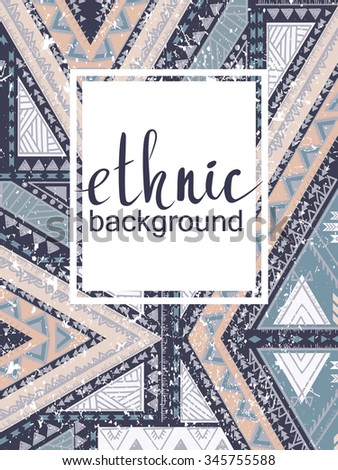 Hand-drawn print, ethnic pattern, for cards, banners - stock vector