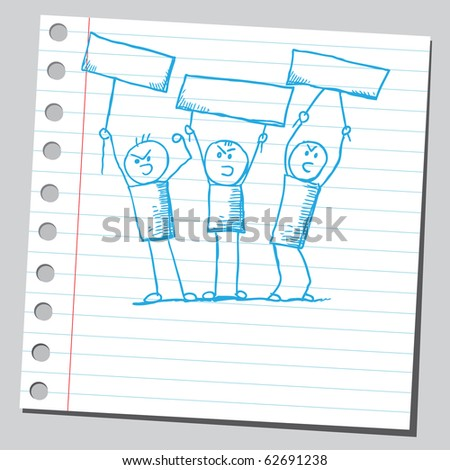 Hand drawn protesters - stock vector