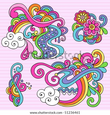 Hand-Drawn Psychedelic Abstract Notebook Doodles Design Elements on Lined Sketchbook Paper Background- Vector Illustration - stock vector