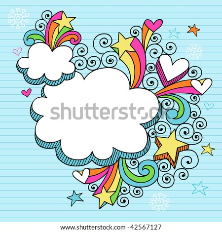 Hand-Drawn Psychedelic Cloud Shaped Frames Notebook Doodles on Lined Paper Background- Vector Illustration - stock vector
