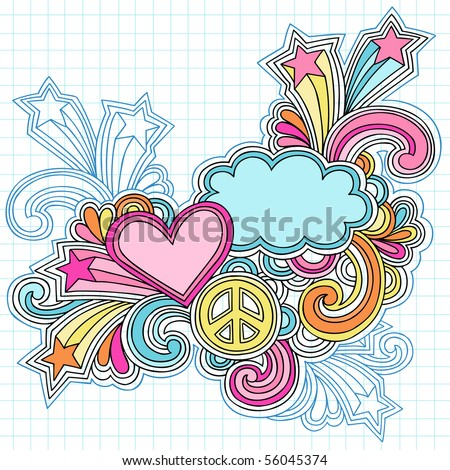 Hand-Drawn Psychedelic Groovy Heart, Clouds, and Peace Sign Notebook Doodles on Graph (Grid) Sketchbook Paper Background- Vector Illustration - stock vector