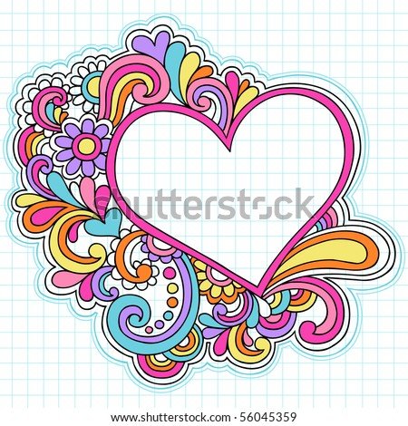 Hand-Drawn Psychedelic Groovy Heart Notebook Doodles on Graph (Grid) Sketchbook Paper Background- Vector Illustration - stock vector