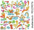 Hand-Drawn Psychedelic Groovy Notebook Doodle Design Elements Set on Lined Sketchbook Paper Background- Vector Illustration - stock vector