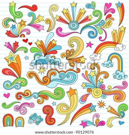Hand-Drawn Psychedelic Groovy Notebook Doodle Design Elements Set on Lined Sketchbook Paper Background- Vector Illustration - stock vector