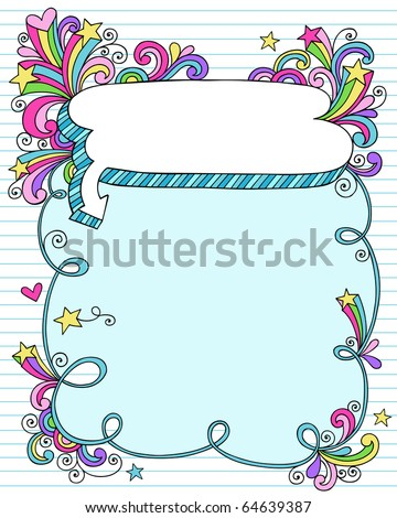 Hand-Drawn Psychedelic Groovy Notebook Doodle Speech Bubble Frame with Stars on Blue Lined Sketchbook Paper Background- Vector Illustration - stock vector