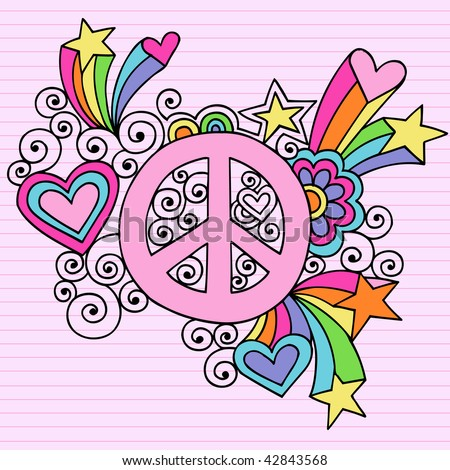 Hand-Drawn Psychedelic Groovy Peace Sign Notebook Doodles on Lined Paper Background- Vector Illustration - stock vector