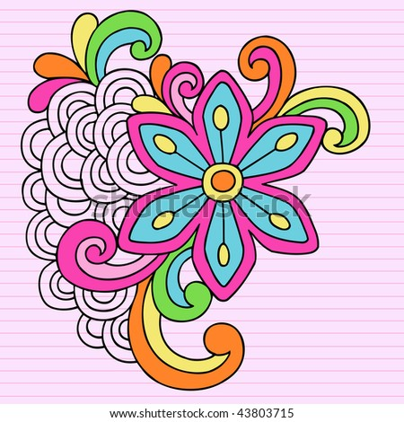 Hand-Drawn Psychedelic Notebook Doodle Flower on Lined Paper Background- Vector Illustration - stock vector