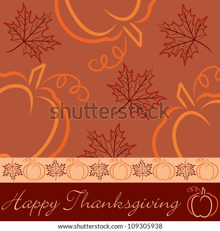 Hand drawn pumpkin and maple leaf Thanksgiving card in vector format. - stock vector