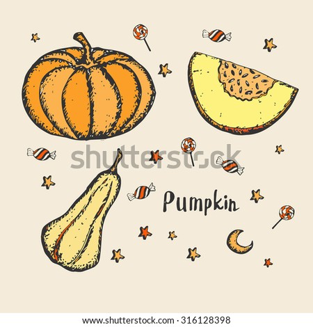 Hand drawn pumpkins. Funny pumpkins. Decorating for the holidays, autumn decor, children's drawing, Vector illustration. Background with stars, candies and moon.