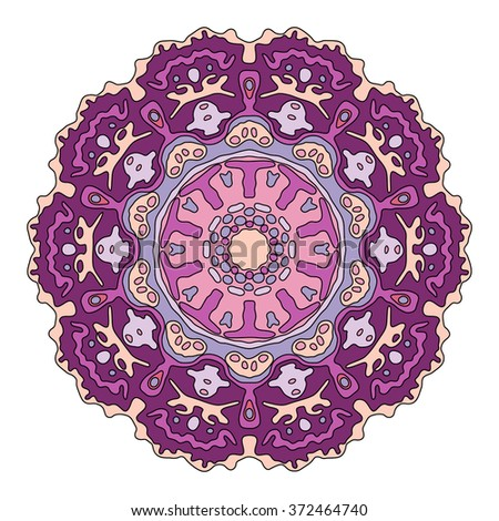 Hand drawn purple mandala. Colorful vector illustration isolated on white. Ethnic design element.  - stock vector