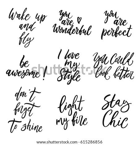 Inspirational Slogans Mesmerizing Hand Drawn Quotes Set About Beauty Stock Vector 615286856