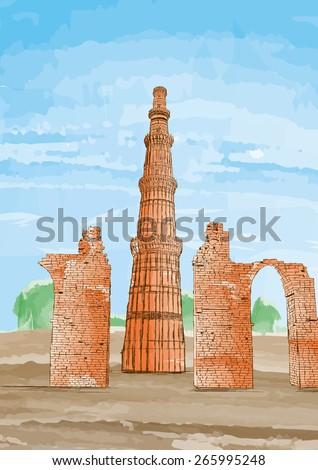 Hand Drawn Qutub Minar, New Delhi, India - Vector Illustration - stock vector