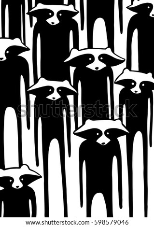 hand drawn raccoon zombie print for t shirt posters decoration vector illustration - Zombie Pictures To Print
