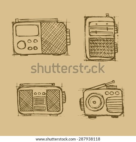 Hand drawn radio set on the brown background. Vector image. - stock vector