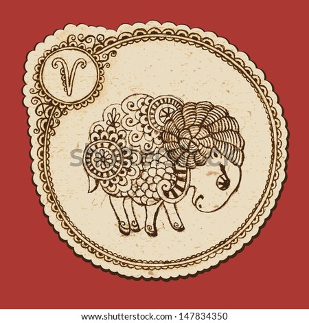 Hand drawn ram with elements of the ornament in ethnic style. Zodiac sign - Aries. Vector illustration - stock vector