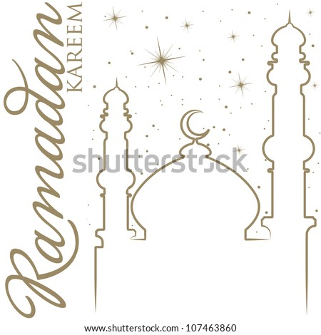 Hand drawn Ramadan Kareem (Generous Ramadan) greeting card in vector format. - stock vector