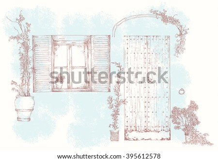 Hand drawn realistic Sketch of old street: wooden door, window with a sun blind, iron loops, canopies, flowers in pots - separate isolated elements. Retro Vector illustration, made in vintage style. - stock vector