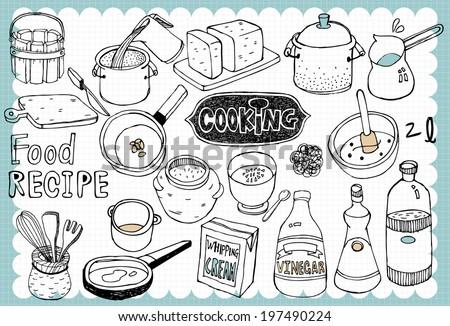 Hand drawn recipe set A - stock vector