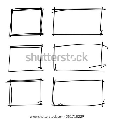 Hand Drawn Rectangle Frames Borders Stock Vector 351718229 - Shutterstock