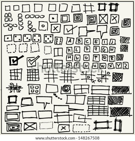 Hand drawn rectangles and squares isolated on light background