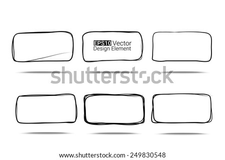 Hand drawn rectanglew with rounded corners set for your design, Eps10 vector - stock vector