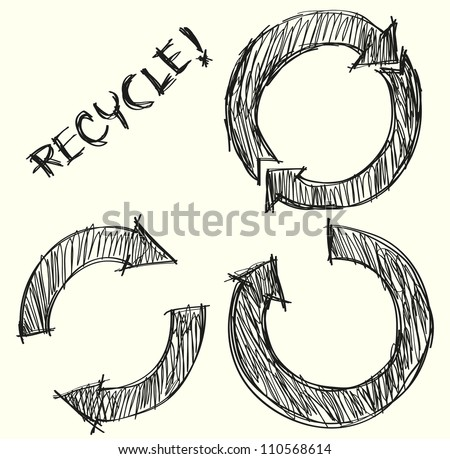 Hand drawn recycle circle arrow sign - stock vector