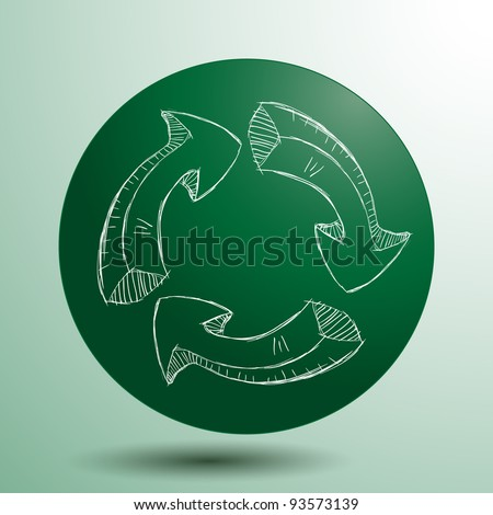 Hand drawn recycle logo, vector