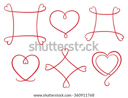 Hand drawn red frames with heart shape. Set of line copy spaces. Vector decorative design elements. Happy valentine day background.  - stock vector