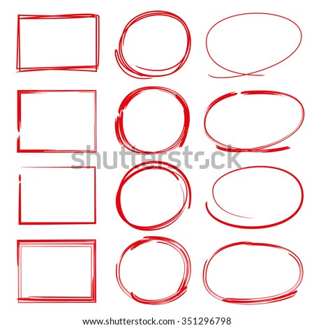 hand drawn red pen marker, highlighter elements - stock vector