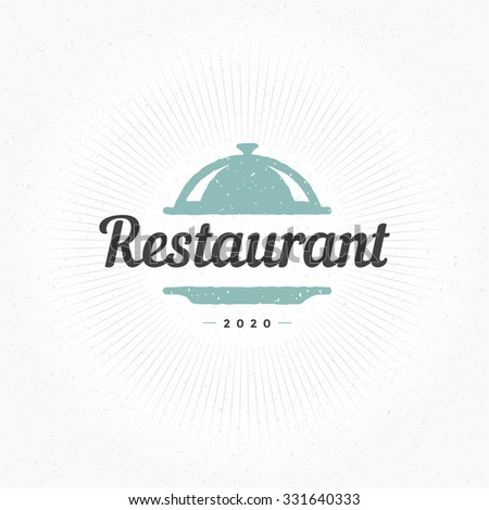 Hand Drawn Restaurant Cloche Design Element in Vintage Style for Logotype, Label, Badge and other design. Tray retro vector illustration.