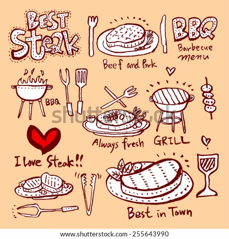 Hand drawn restaurant poster  / food menu illustrations - vector - stock vector