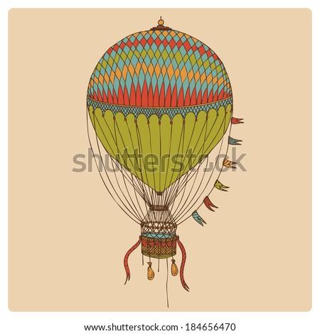 hand drawn retro air balloon - stock vector