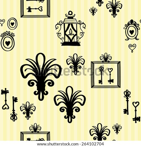 Hand drawn retro and vintage forged frame, border, lantern, key, lily decoration items. Set of isolated rustic wedding decorative symbols and elements. Black outline sketch. - stock vector