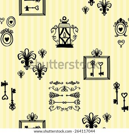 Hand drawn retro and vintage forged frame, border, lantern, key, lily decoration items. Set of isolated rustic wedding decorative symbols and elements. Black outline sketch - stock vector