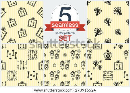 Hand drawn retro and vintage forged frame, lantern, key, border, arrow decoration item. Set of 5 vector seamless pattern. Chess grid order pattern. - stock vector