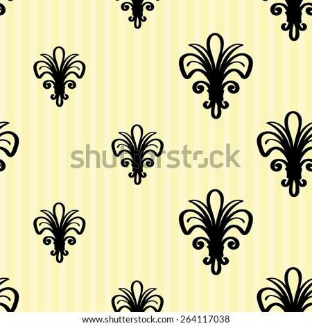 Hand drawn retro and vintage forged lily, flower, bud, floral decoration items. Set of isolated rustic wedding decorative symbols and elements. Black outline sketch - stock vector