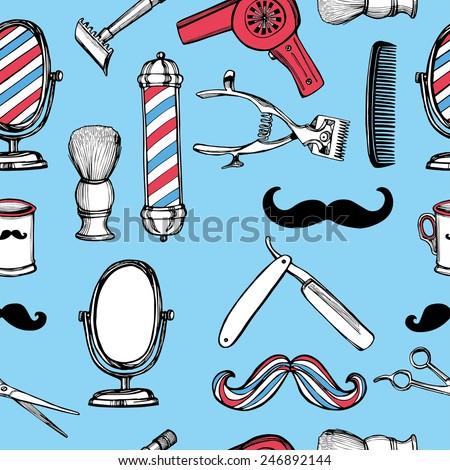 Hand drawn retro barbershop seamless pattern. Scissors, razor, shaving brush, barber pole, shaving mirror, mustache, comp. Blue background - stock vector