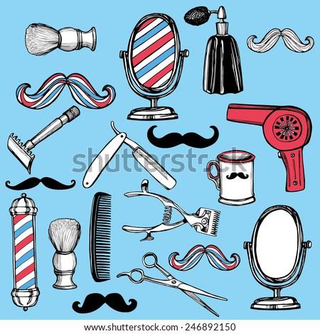 Hand drawn retro barbershop set. Scissors, razor, shaving brush, barber pole, shaving mirror, mustache, comp. Blue background - stock vector