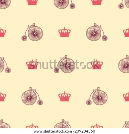hand drawn retro bike and vintage crowns seamless pattern arranged in chess order - stock vector